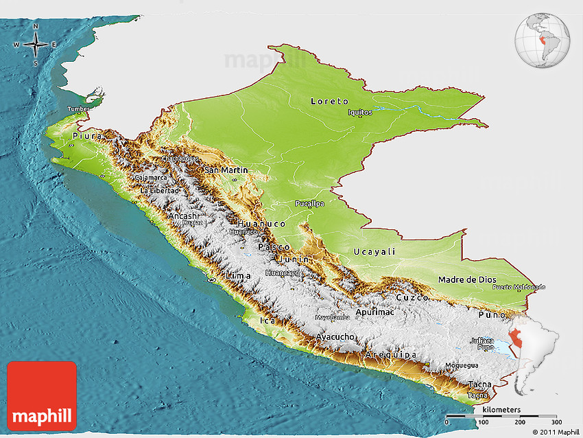 Physical Panoramic Map Of Peru Single Color Outside Satellite Sea - Physical map of peru
