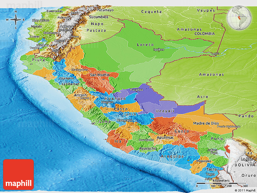 Political Panoramic Map of Peru, physical outside