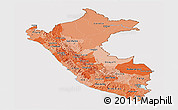 Political Shades Panoramic Map of Peru, cropped outside