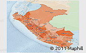 Political Shades Panoramic Map of Peru, lighten