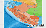 Political Shades Panoramic Map of Peru