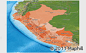 Political Shades Panoramic Map of Peru, satellite outside, bathymetry sea