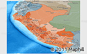 Political Shades Panoramic Map of Peru, semi-desaturated, land only