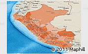 Political Shades Panoramic Map of Peru, shaded relief outside, bathymetry sea