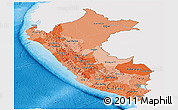 Political Shades Panoramic Map of Peru, single color outside