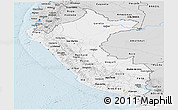 Silver Style Panoramic Map of Peru