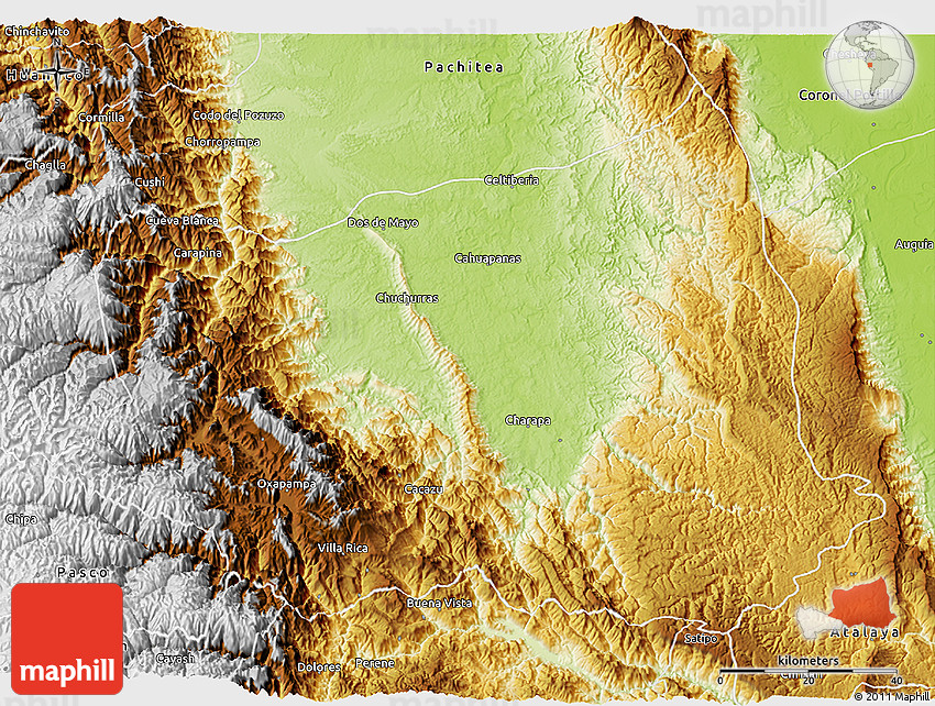 Oxapampa Peru Map.Physical 3d Map Of Oxapampa