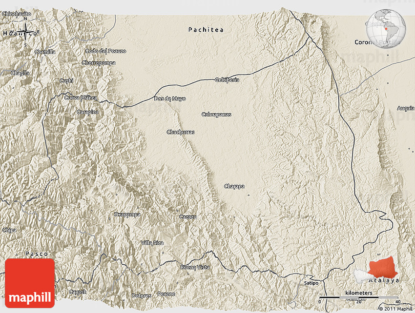 Oxapampa Peru Map.Shaded Relief 3d Map Of Oxapampa
