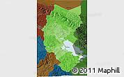 Political Shades 3D Map of Puno, darken