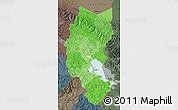 Political Shades Map of Puno, darken, semi-desaturated