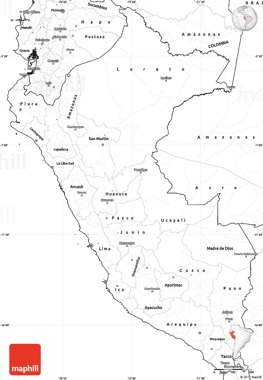 It is an image of Eloquent Printable Map of Peru