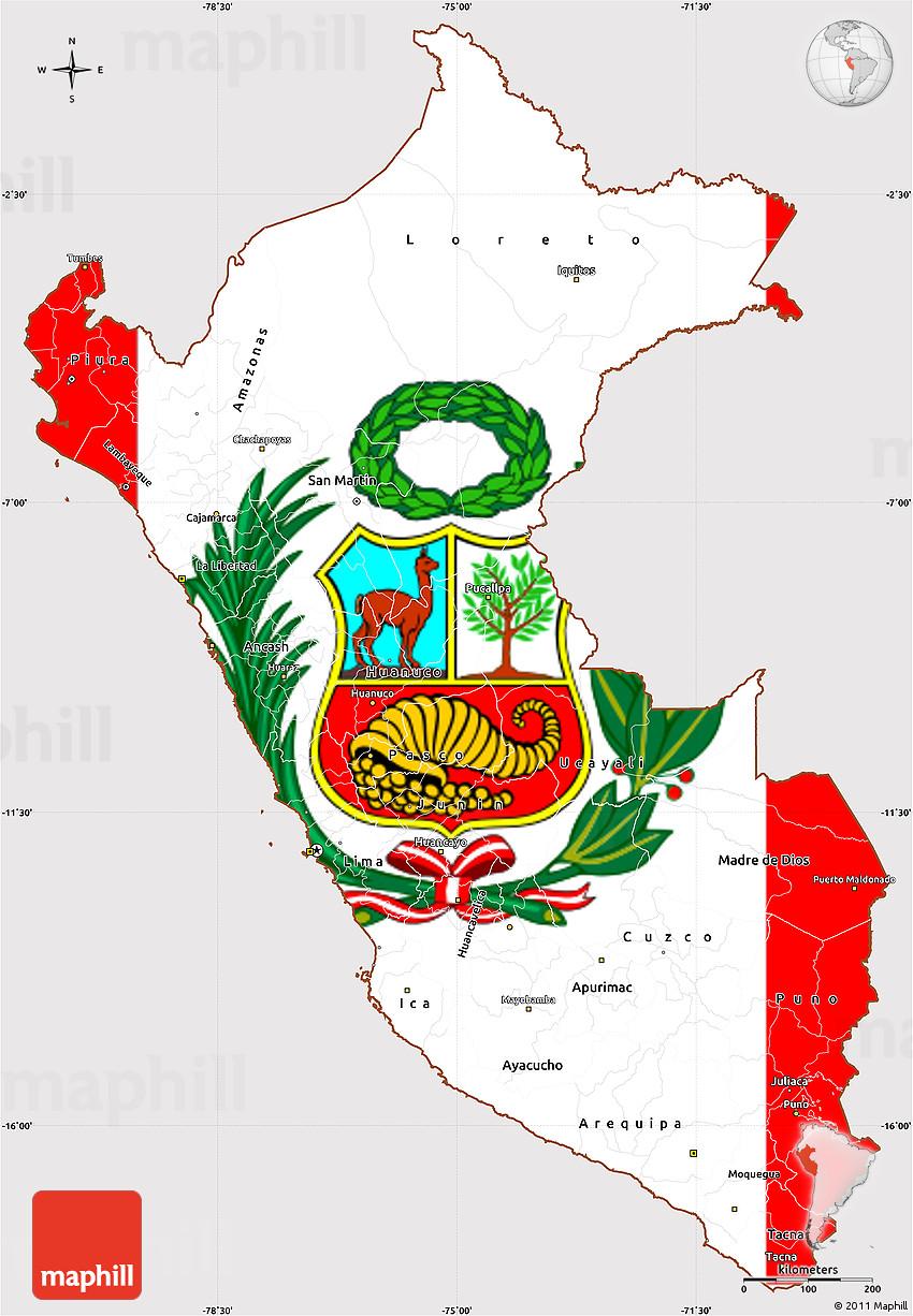 image regarding Printable Map of Peru identified as Flag Basic Map of Peru, flag based mostly