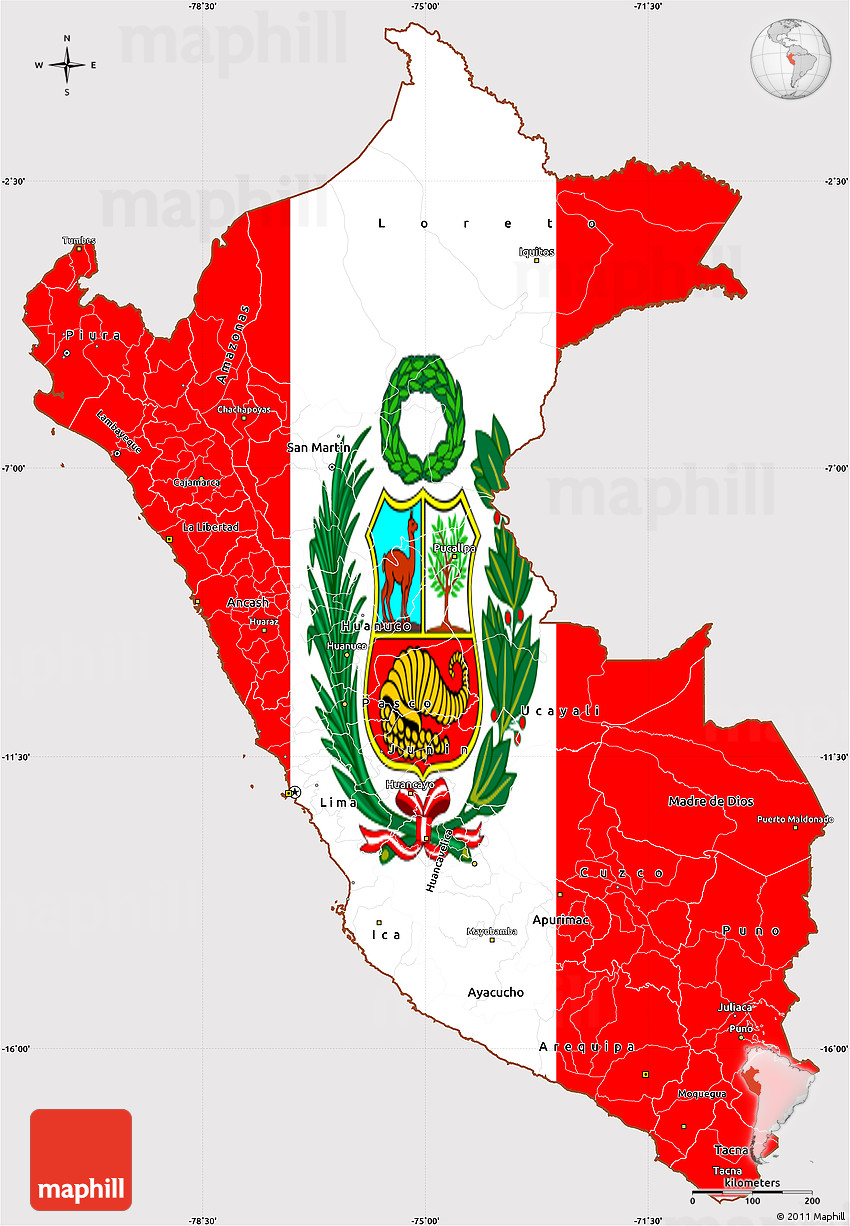 Flag Simple Map of Peru