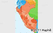 Political Shades Simple Map of Peru