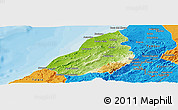 Physical Panoramic Map of Contralmirante V, political outside