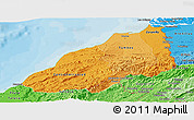 Political Shades Panoramic Map of Tumbes