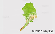 Physical 3D Map of Tumbes, cropped outside