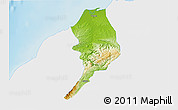Physical 3D Map of Tumbes, single color outside