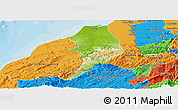 Physical Panoramic Map of Tumbes, political outside