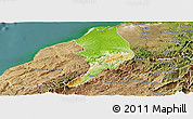 Physical Panoramic Map of Tumbes, satellite outside