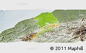 Physical Panoramic Map of Tumbes, semi-desaturated