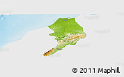 Physical Panoramic Map of Tumbes, single color outside