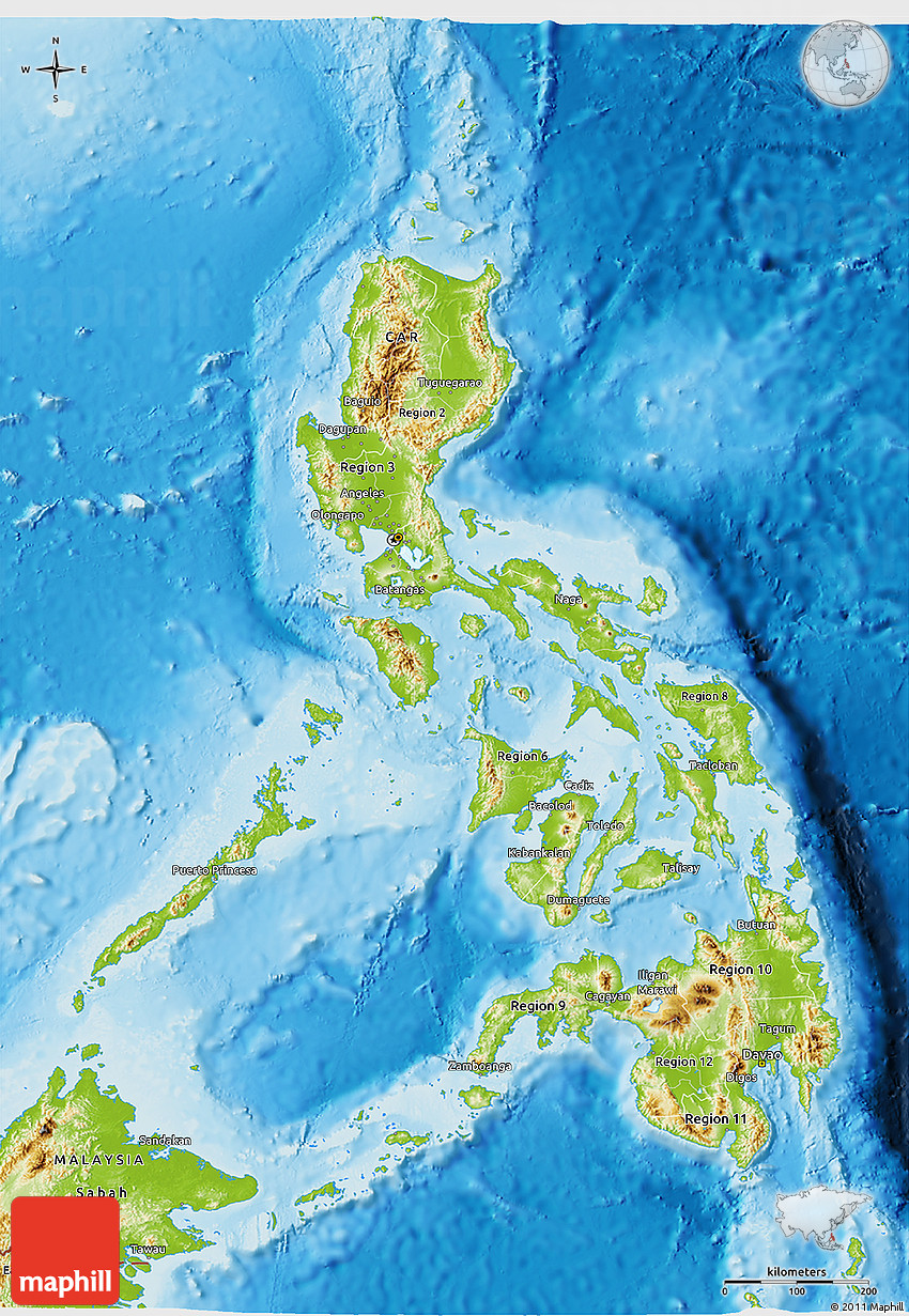 Physical D Map Of Philippines - Map of philippines