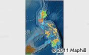 Political 3D Map of Philippines, darken