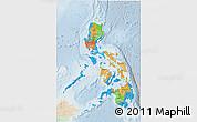 Political 3D Map of Philippines, lighten