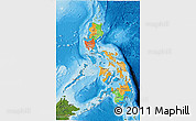 Political 3D Map of Philippines, satellite outside, bathymetry sea