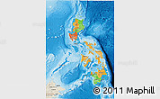 Political 3D Map of Philippines, shaded relief outside, bathymetry sea