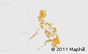 Political Shades 3D Map of Philippines, cropped outside