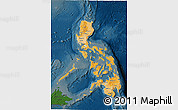 Political Shades 3D Map of Philippines, darken