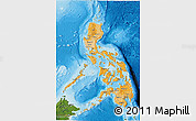 Political Shades 3D Map of Philippines, satellite outside, bathymetry sea