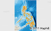 Political Shades 3D Map of Philippines, shaded relief outside, bathymetry sea