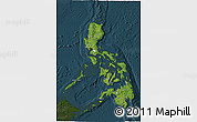 Satellite 3D Map of Philippines, darken