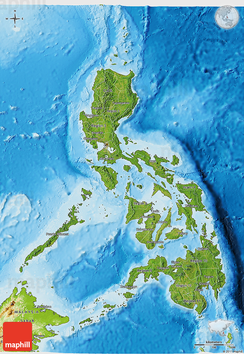 Satellite D Map Of Philippines Physical Outside - Hd satellite map