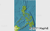 Satellite 3D Map of Philippines, physical outside, satellite sea