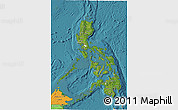 Satellite 3D Map of Philippines, political outside, satellite sea