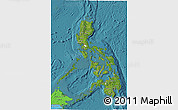 Satellite 3D Map of Philippines, political shades outside, satellite sea