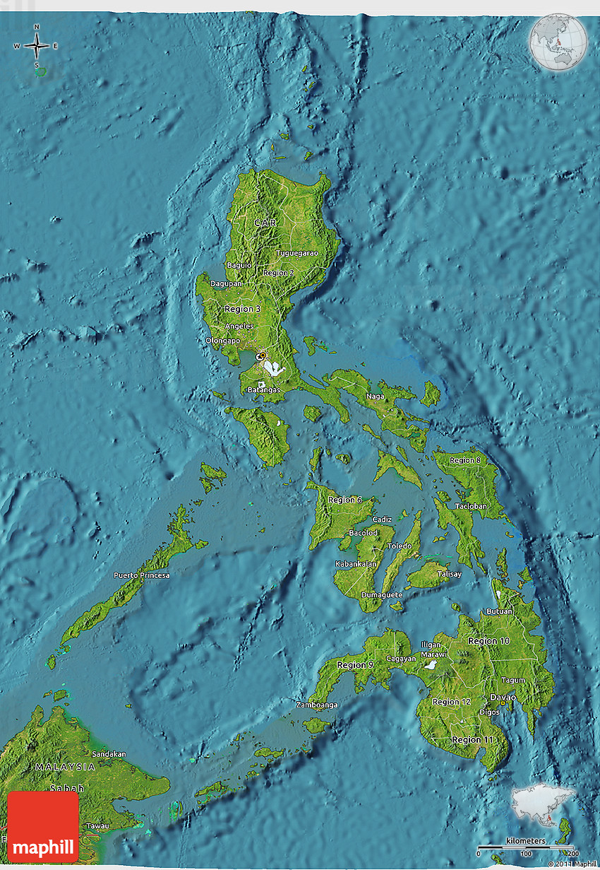 Satellite D Map Of Philippines - Maps of the philippines