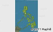 Satellite 3D Map of Philippines, semi-desaturated, land only