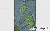 Satellite 3D Map of Philippines, semi-desaturated