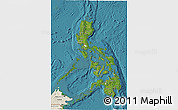 Satellite 3D Map of Philippines, shaded relief outside, satellite sea