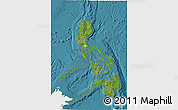 Satellite 3D Map of Philippines, single color outside