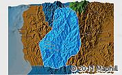 Political 3D Map of Benguet, darken