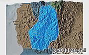 Political 3D Map of Benguet, darken, semi-desaturated
