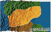 Political 3D Map of Ifugao, darken