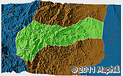 Political 3D Map of Mountain, darken