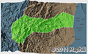 Political 3D Map of Mountain, darken, semi-desaturated